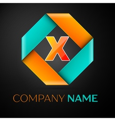 Letter x logo symbol in the colorful rhombus on vector