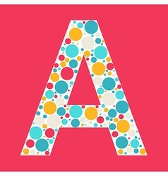 Colorful letter a icon made with circles vector