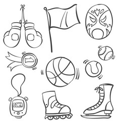 collection of sport equipment style doodles vector image