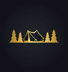 Pine tree camp forest gold logo vector