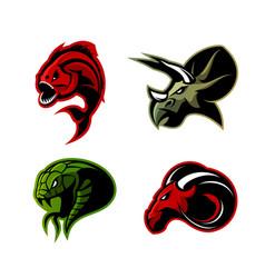 furious piranha ram snake and dinosaur head vector image