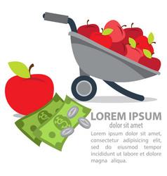 Garden wheelbarrow with apples and money farming vector