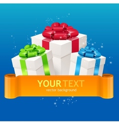 Gift boxes with bow and ribbon for text vector image