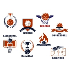 Basketball tournament and emblem designs vector image