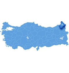 Map of turkey ardahan vector