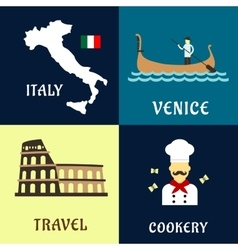 Traditional travel italian flat icons vector