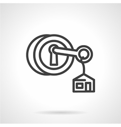 Lock with key black line icon vector