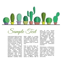 The set of cacti in pots and text vector