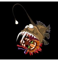 Angler fish with indian mask on a black background vector