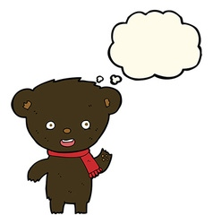 Cartoon cute black bear with thought bubble vector