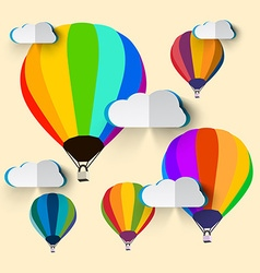 Hot Air Balloons with Paper Clouds vector image