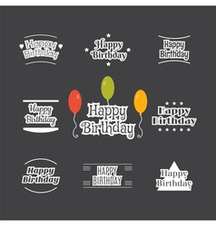 Happy birthday set label design collection vector