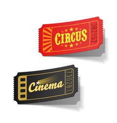 Circus and cinema tickets vector