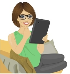 Young woman reading e-book on the sofa vector