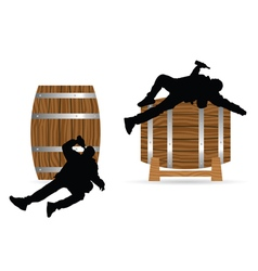 Man drunk on barrel vector