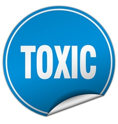 Toxic round blue sticker isolated on white vector