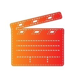 Film clap board cinema sign orange applique vector