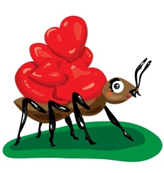 Ant with hearts vector