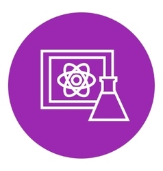 Atom sign drawn on board and flask line icon vector