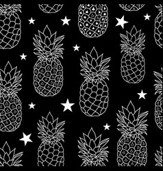 balck and white pineapples stars repeat vector image