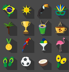 brazil summer set of flat icons vector image
