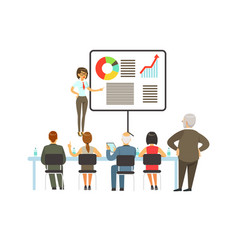 businesswoman making presentation and explaining vector image vector image