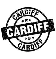 Cardiff black round grunge stamp vector