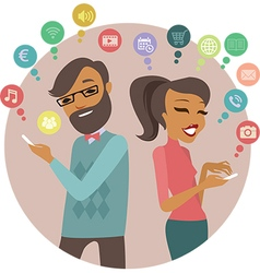 couple using smartphone vector image vector image