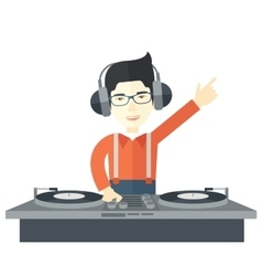 DJ with console vector image