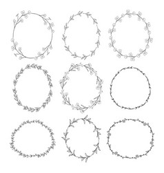doodle wreaths with branches herbs plants and vector image vector image