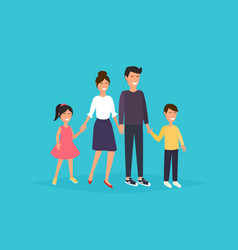 father mother son and daughter together happy vector image