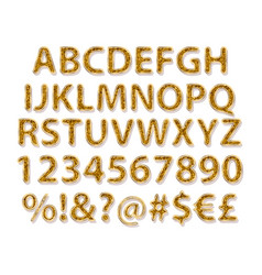 Gold alphabetic fonts and numbers vector