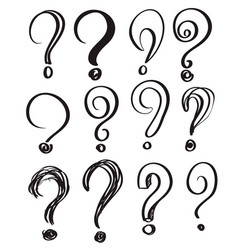 hand drawn doodle questions marks set vector image vector image