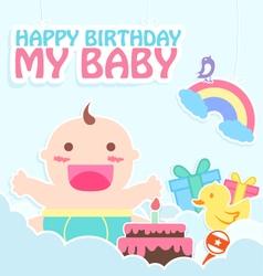 Happy birthday my baby card vector