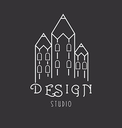 House of pencils idea logo of art studio vector
