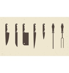 Knifes set or Kitchen knives icons vector image