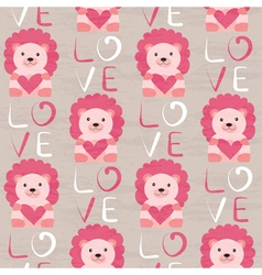 Lion with heart seamless pattern vector