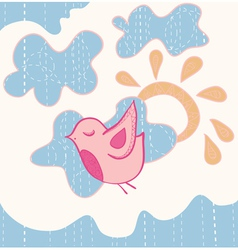 little sweet flying bird vector image vector image