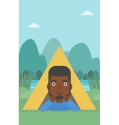 Man lying in camping tent vector