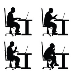 man silhouette with laptop in office set vector image