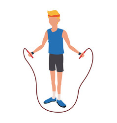 Man with jump rope fitness sport training vector