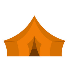 Orange tent for forest camping icon isolated vector