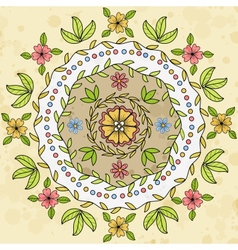 Ornamental floral round pattern vector image