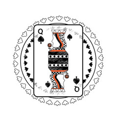 Queen spades suit circle emblem french playing vector