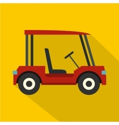 Red golf cart icon flat style vector
