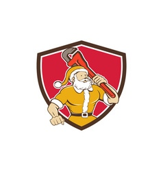 Santa claus plumber monkey wrench shield cartoon vector