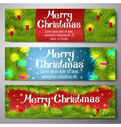 Set of horizontal Merry Christmas banners vector image