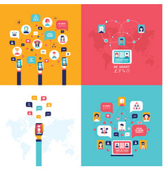 Social network technology banner set people using vector