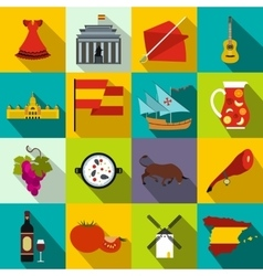 Spain icons flat vector