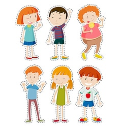 Sticker set of happy children vector image vector image